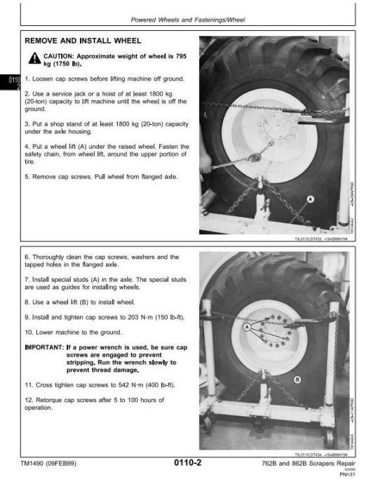 Fourth Additional product image for - John Deere 762B (SN.-791763), 862B (SN.-793082) Scraper Service Repair Technical Manual (tm1490)