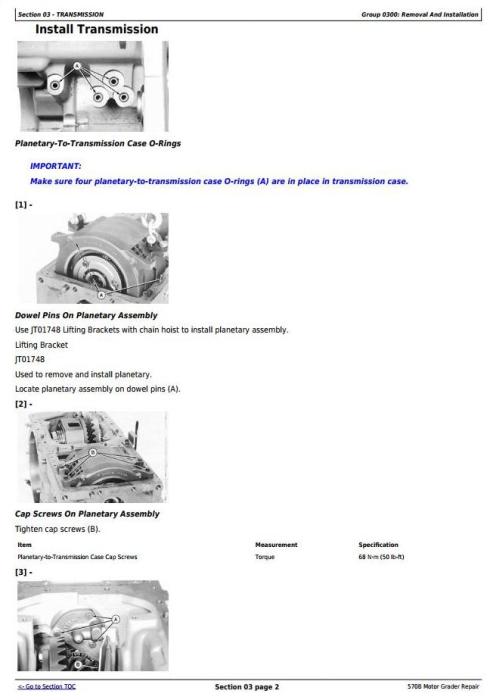 John Deere 570B Motor Grader Service Repair Technical