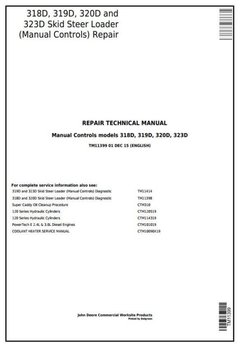 First Additional product image for - John Deere 318D, 319D, 320D, 323D Skid Steer Loader w.Manual Controls Service Repair Manual TM11399