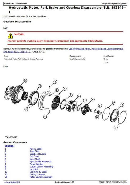 Second Additional product image for - John Deere 318D, 319D, 320D, 323D Skid Steer Loader w.Manual Controls Service Repair Manual TM11399