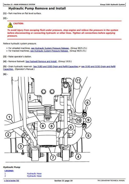 Third Additional product image for - John Deere 318D, 319D, 320D, 323D Skid Steer Loader w.Manual Controls Service Repair Manual TM11399
