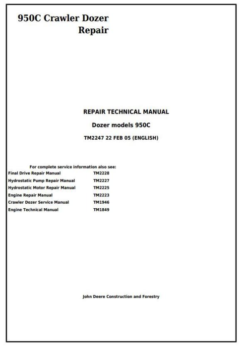 First Additional product image for - John Deere 950C Crawler Dozer Service Repair Technical Manual (tm2247)