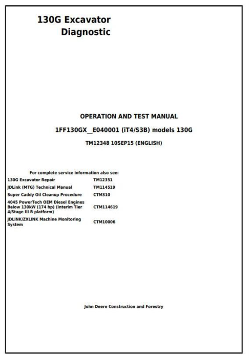 First Additional product image for - John Deere 130G (iT4/S3B) Excavator (S.N.1FF130GX_E040001) Operation & Test Service Manual (TM12348)