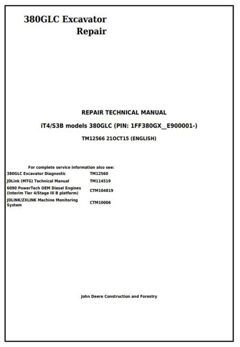First Additional product image for - John Deere 380GLC Excavator (PIN: 1FF380GX__E900001-) iT4/S3B Service Repair Manual (TM12566)