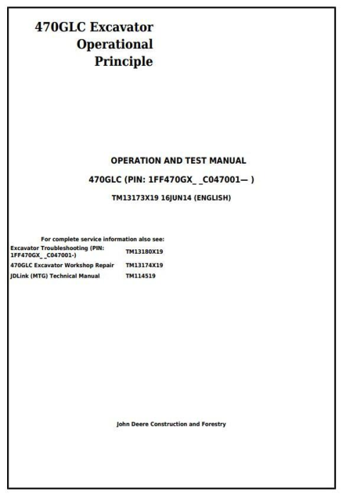 First Additional product image for - John Deere 470GLC Excavator Troubleshooting, Operation and Test Service Manual (TM13173X19)