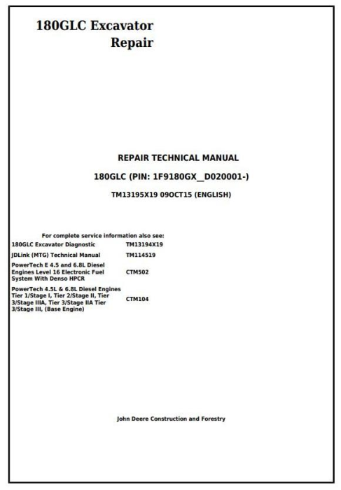 First Additional product image for - John Deere 180GLC (PIN: 1F9180GX__D020001-) Excavator Service Repair Technical Manual (TM13195X19)