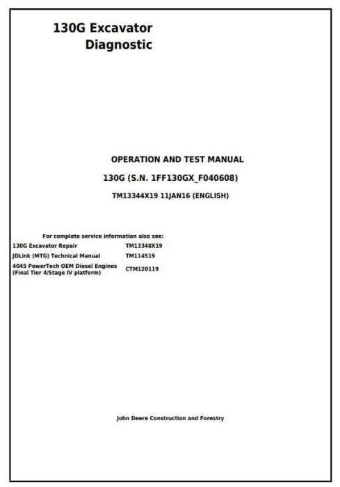 First Additional product image for - John Deere 130G Excavator Diagnostic, Operation and Test Service Manual (TM13344X19)