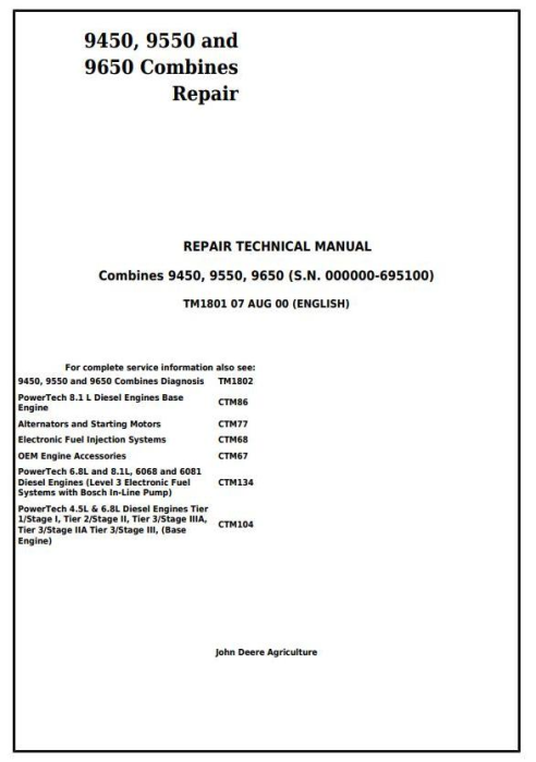 First Additional product image for - John Deere 9450, 9550 and 9650 Combines (SN. before 695100) Service Repair Technical Manual (tm1801)