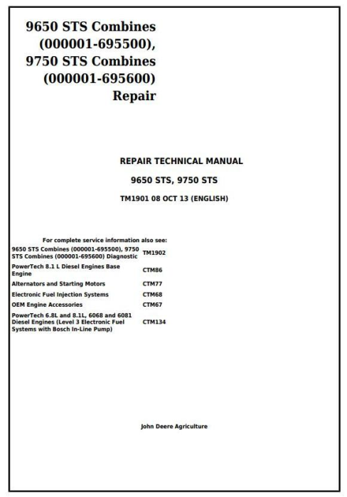 First Additional product image for - John Deere 9650 STS (-695500) , 9750 STS (-695600) Combines Service Repair Technical Manual (TM1901)