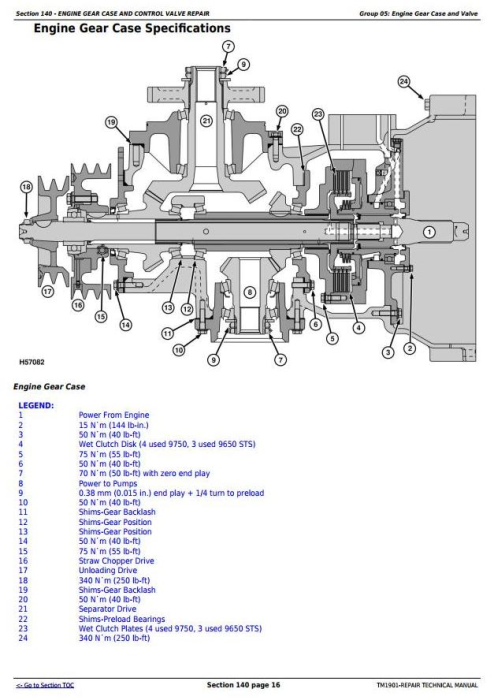 Fourth Additional product image for - John Deere 9650 STS (-695500) , 9750 STS (-695600) Combines Service Repair Technical Manual (TM1901)