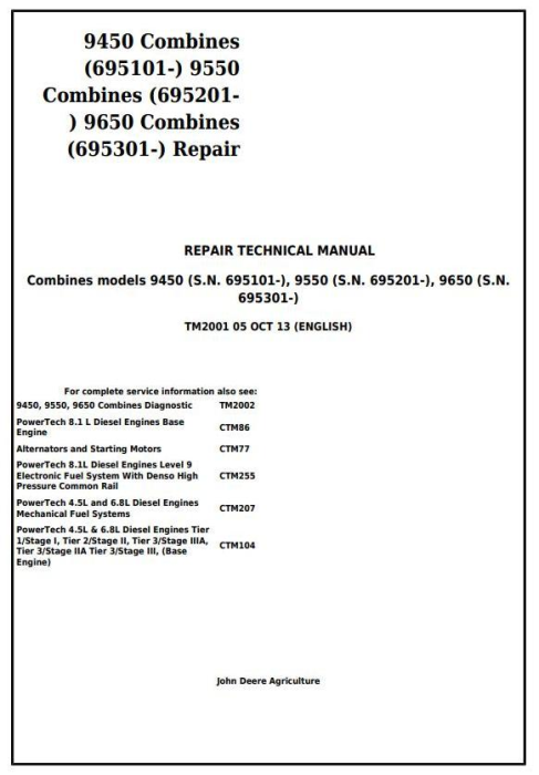 First Additional product image for - John Deere 9450 (SN.695101-), 9550 (695201-), 9650 (695301-) Combines Service Repair Manual (TM2001)