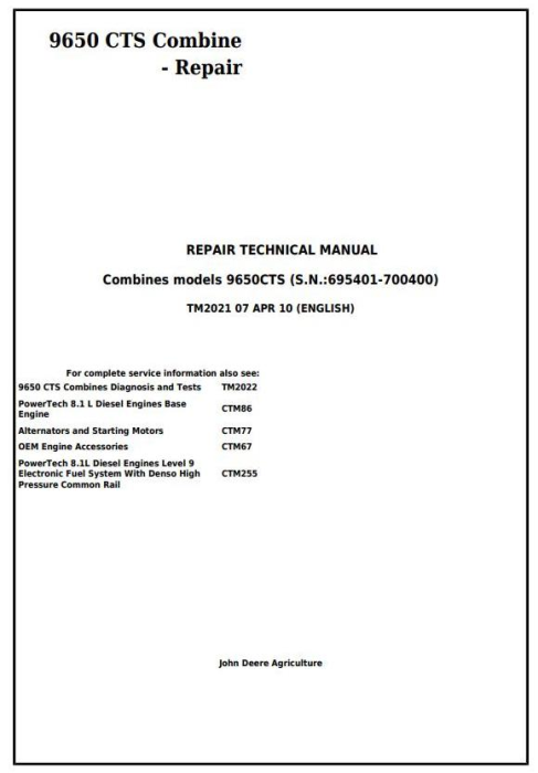 First Additional product image for - John Deere 9650 CTS Combine (SN. 695401-700400) Service Repair Technical Manual (TM2021)