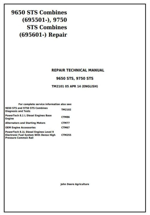 First Additional product image for - John Deere 9650STS (SN.695501-), 9750STS (SN.695601-) Combines Service Repair Technical Manual (TM2101)