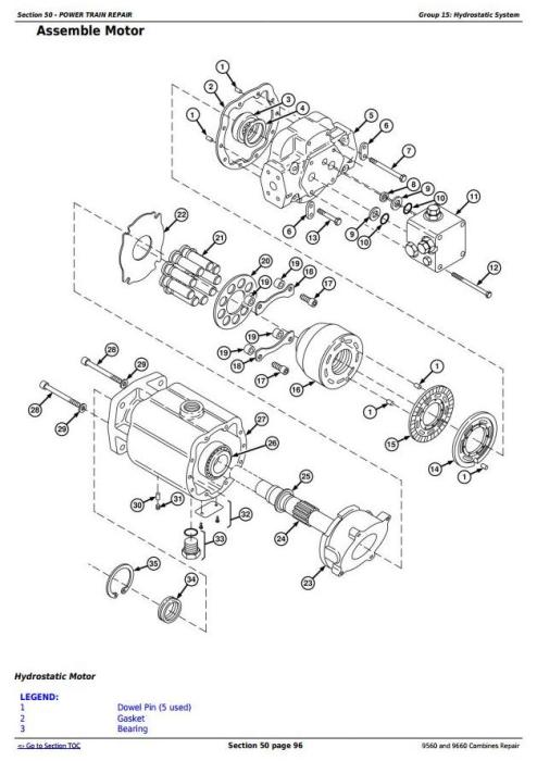 John Deere 9560 and 9660 Combines (SN. 705201-) Service