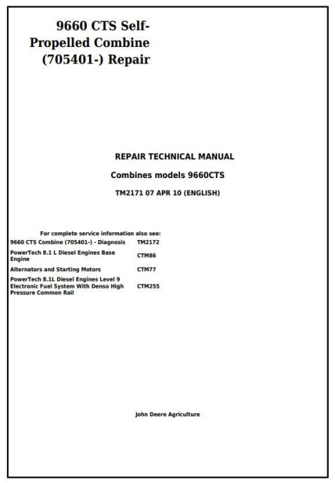 First Additional product image for - John Deere 9660 CTS Self-Propelled Combine (SN.from 705401) Service Repair Technical Manual (TM2171)