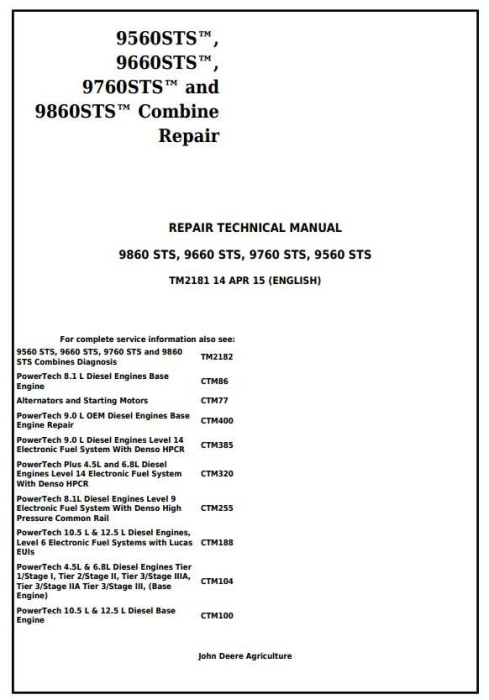 First Additional product image for - John Deere 9560 STS, 9660 STS, 9760 STS, 9860 STS Combines Service Repair Technical Manual (TM2181)