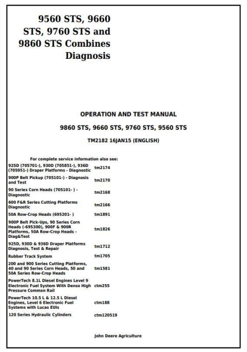 First Additional product image for - John Deere 9560STS, 9660STS, 9760STS and 9860STS Combines Diagnosis and Test Service Manual (TM2182)