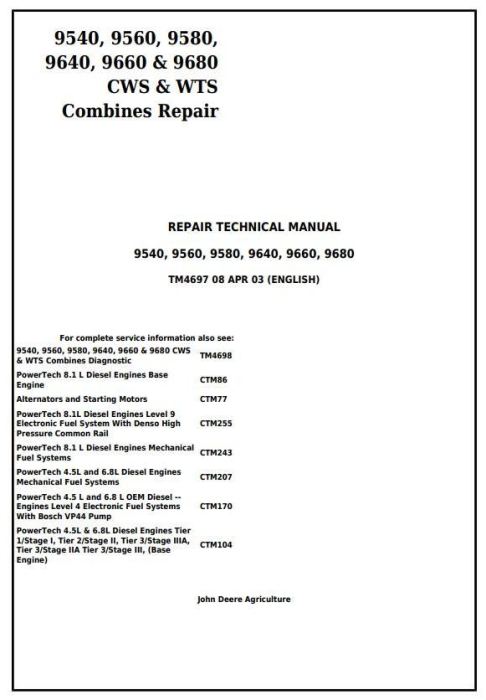 First Additional product image for - John Deere 9540, 9560, 9580, 9640, 9660, 9680 CWS/WTS Combine Service RepairTechnical Manual (tm4697)