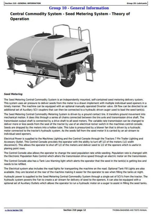 Fourth Additional product image for - John Deere 1690, 1890, 1990 Seed Metering Central Commodity System Diagnostic Service Manual TM2066