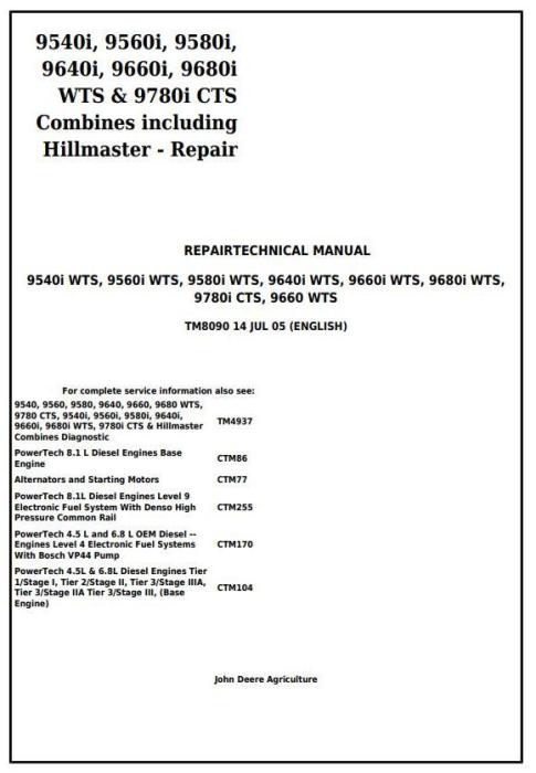 First Additional product image for - John Deere 9660, 9540i, 9560i, 9580i, 9640i, 9660i, 9680i WTS, 9780i CTS Combines Repair Manual (tm8090)