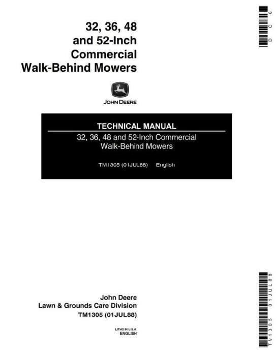 John Deere Commercial Walk-Behind Mowers Models 32, 36, 48