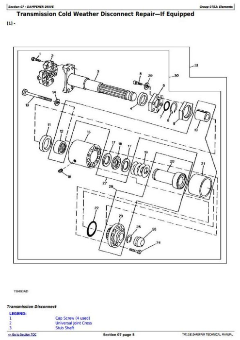 Fourth Additional product image for - John Deere 540H Cable Skidder and 548H Grapple Skidder (SN.630436-) Service Repair Manual (TM11810)