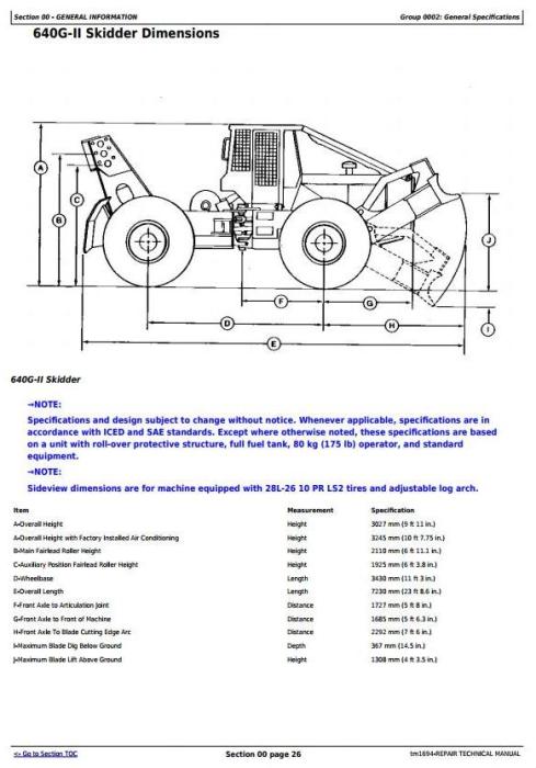 Fourth Additional product image for - John Deere 540G-II 548G-II 640G-II 648G-II 748G-II (SN.565685-576252) Skidder Repair Manual (TM1694)