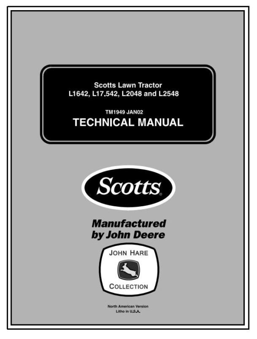 First Additional product image for - Scotts L1642, L17.542, L2048, L2548 Lawn Tractors (by John Deere) Technical Service Manual (tm1949)