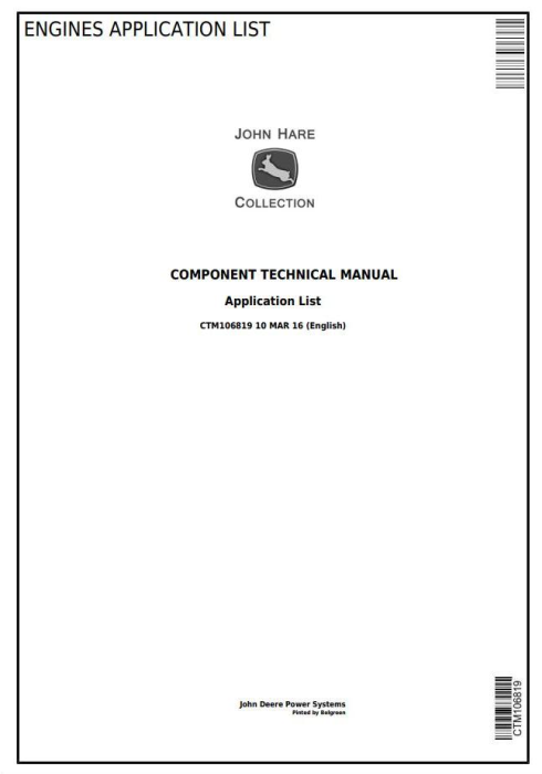 First Additional product image for - John Deere Engines Application List Component Technical Manual (CTM106819)