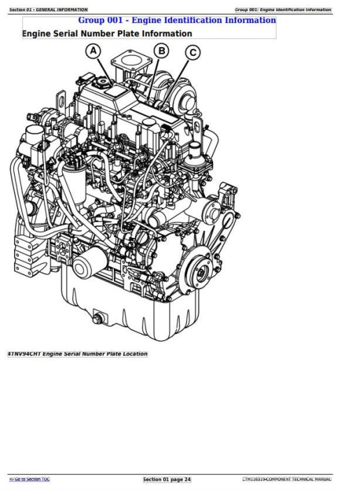 First Additional product image for - John Deere Yanmar 4TNV94CHT Diesel Engine (Interim Tier 4/Stage IIIB) Technical Manual (CTM116319)