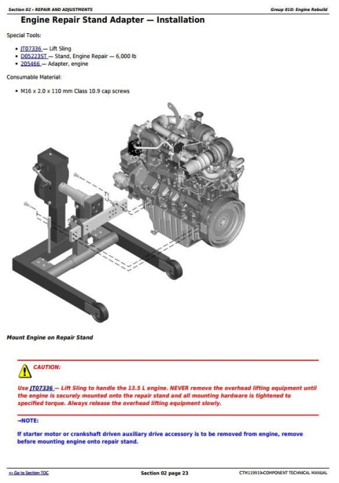 First Additional product image for - John Deere PowerTech 6135 Diesel Engine Level 32 ECU Component Technical Manual (CTM119919)