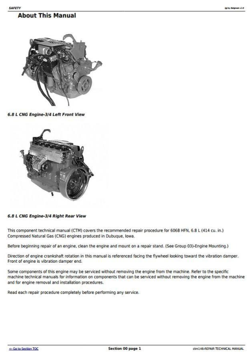 First Additional product image for - PowerTech 6.8L, 6068 Compressed Natural Gas Engine Repair Technical Manual (ctm146)