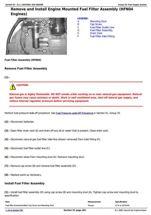 Fourth Additional product image for - Powertech 8.1L 6081 Natural Gas Engines Technical Service Manual (CTM87)
