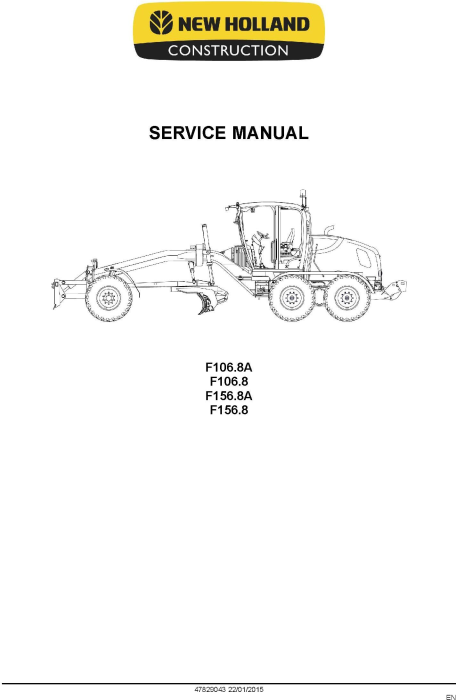 Second Additional product image for - New Holland F106.8, F106.8A, F156.8, F156.8A Motor grader Service Manual