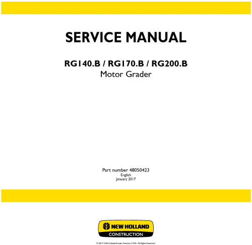 First Additional product image for - New Holland RG140.B, RG170.B, RG200.B Motor grader Service Manual (Brasil)