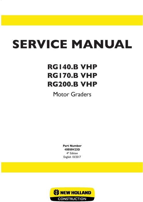First Additional product image for - New Holland RG140.B VHP, RG170.B VHP, RG200.B VHP Motor Grader Service Manual