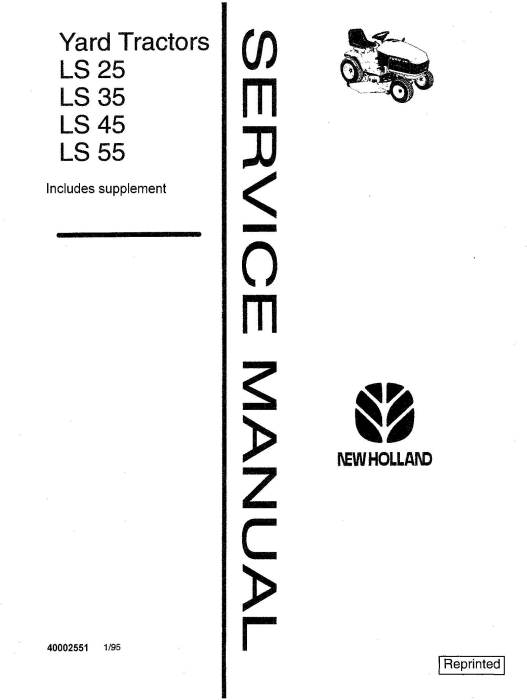 First Additional product image for - New Holland LS25, LS35, LS45, LS55 Yard Tractor Service Manual Service Manual