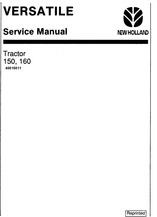 First Additional product image for - New Holland Versatile 150, 160 4WD Tractors (1977-1983) Service Repair Manual