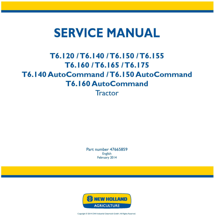 First Additional product image for - New Holland T6.120, T6.140, T6.150, T6.155, T6.160, T6.165, T6.175 European Tractor Service Manual
