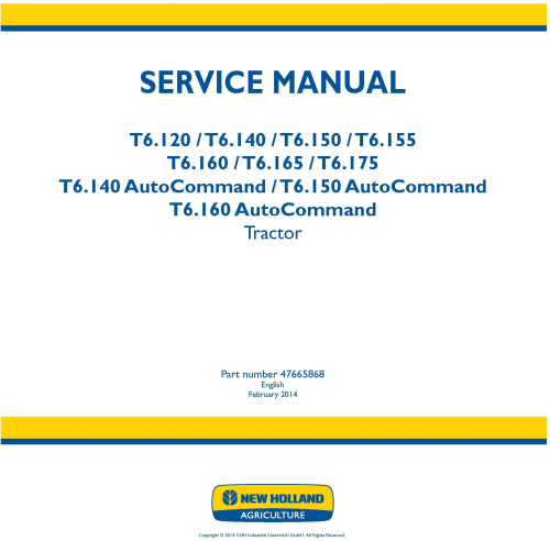 First Additional product image for - New Holland T6.120, T6.140, T6.150, T6.155, T6.160, T6.165,T6.175 All Regions Tractor Service Manual