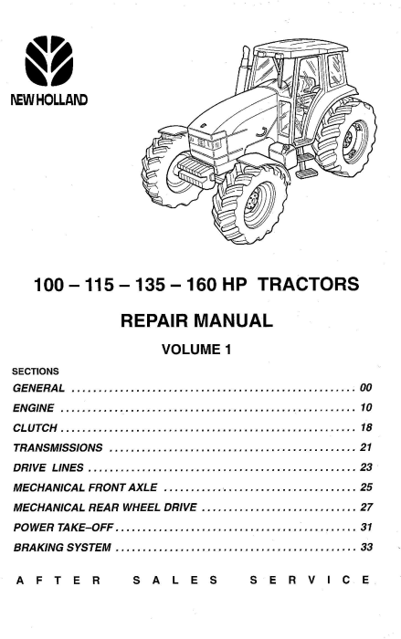 First Additional product image for - New Holland 100 HP, 115 HP, 135 HP, 160 HP tractors Service Manual
