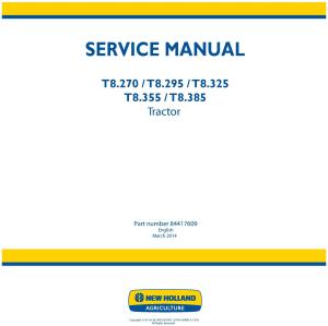 new holland t8.270, t8.295, t8.325, t8.355, t8.385 tractors service manual (brazil)