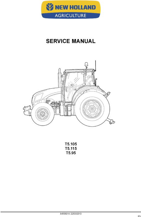 New Holland T5.95, T5.105, T5.115 Tractor Complete Service