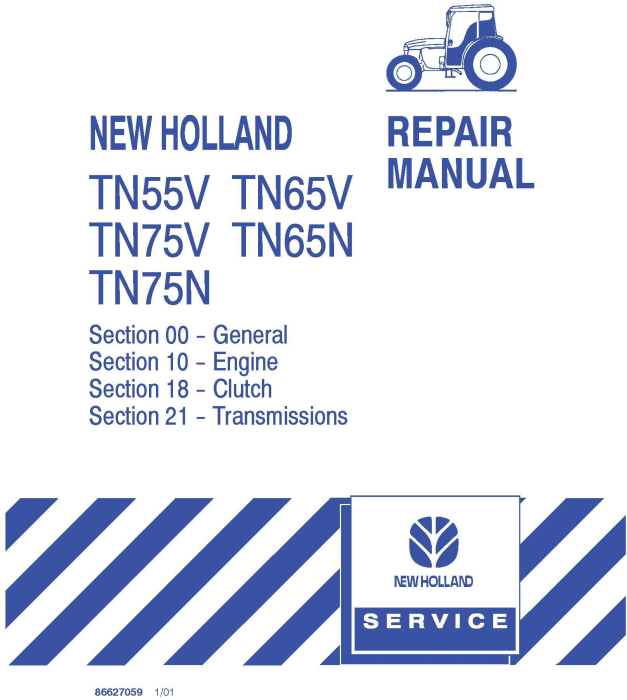 First Additional product image for - New Holland TN55V, TN65V, TN75V, TN65N, TN75N Tractor Complete Service Manual