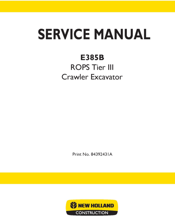 First Additional product image for - New Holland E385B ROPS Tier III Crawler Excavators Service Manual