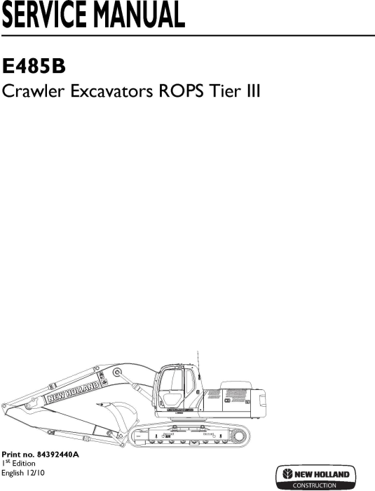 First Additional product image for - New Holland E485B ROPS Tier III Crawler Excavators Service Manual