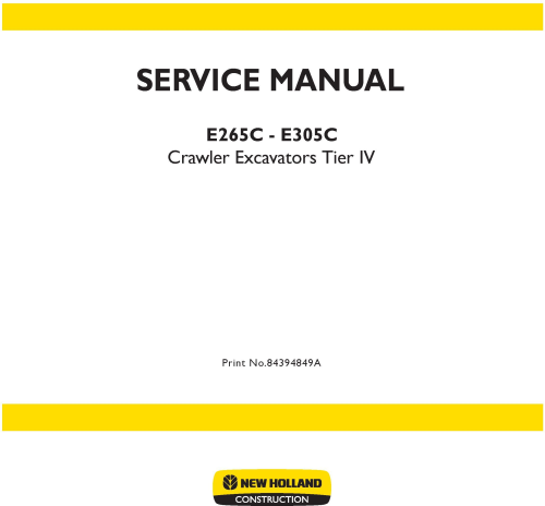 First Additional product image for - New Holland E265C, E305C Tier IV Crawler Excavators Service Manual