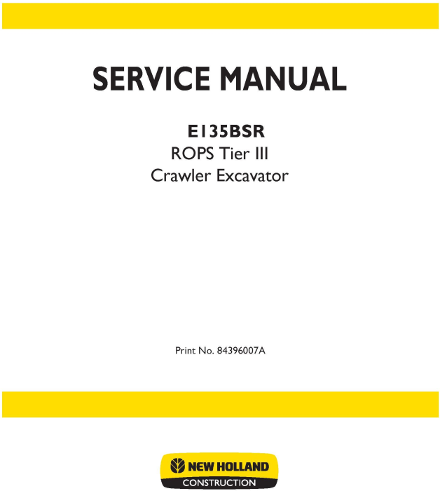 First Additional product image for - New Holland E135BSR Tier 3 Crawler Excavators Service Manual