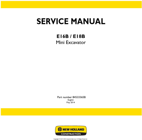 First Additional product image for - New Holland E16B, E18B Mini Excavator Service Manual