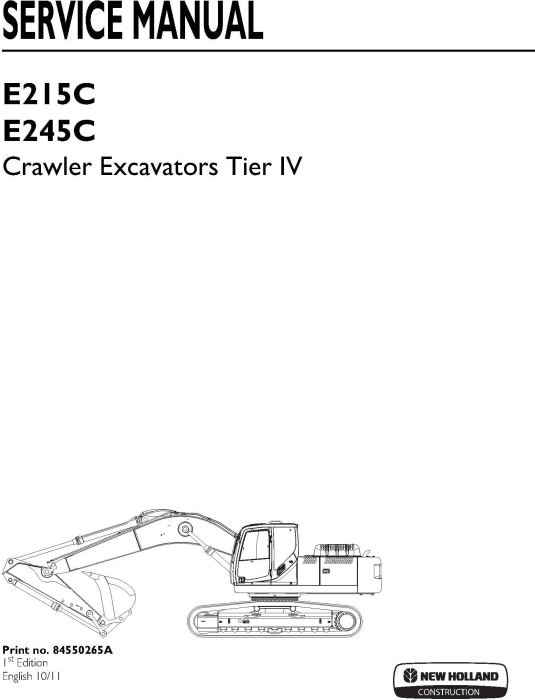 First Additional product image for - New Holland E215C, E245C Tier IV Crawler Excavators Service Manual (10-2011)